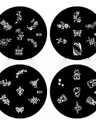 1pcs de uñas sello estampado de la imagen de arte plantilla de la placa b series no.29-32 (modelo surtidos)