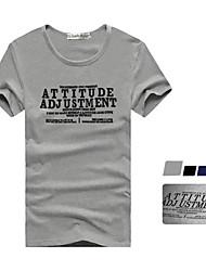 T-shirt da luva A & M gola redonda Moda curto (Gray)