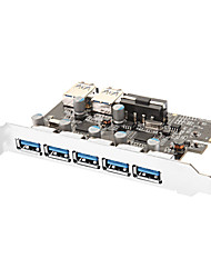 7-Port Superspeed USB 3.0 PCI-E Express uitbreidingskaart met 5V 4-pins power connector voor Desktops