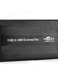 """IDE to USB 2.0 HDD External Aluminum Box Case for 2.5"""" Mobile Hard Disk Drive - Black"""