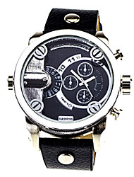 Shinuo Men's All Match Waterproof Pu Leather Two Timezone Watch