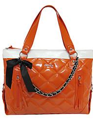 PVC orange de diamant élégant de Kate & Co femmes Vérifier Miroir Vérifiez bowknot Multi-Fonction sac à main (14 pouces)