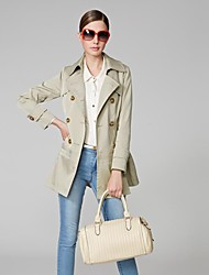 OSA Women's Lapel Pure Color Loose Double-breasted Casual Outwear