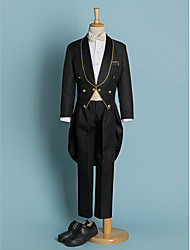 Polyester Ring Bearer Suit - 5 Pieces Includes  Jacket / Shirt / Pants / Waist cummerbund / Bow Tie