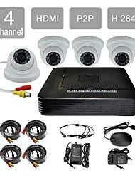 p2p hdmi 4-kanaals H.264 DVR kit 4x420tvl ir dome camera cctv beveiligingssysteem