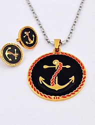 Gothic  Anchor Titanium Steel  Necklaces and Earrings Jewelry Sets