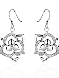 lureme® Fashion Style Silver Plated Hollow Flower Shape Earrings