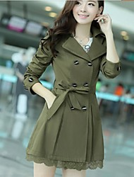 Women's Tailor Collar Trench Coat with Belt