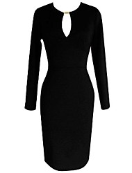MingFan Women's Deep V Neck Sexy Metal Buckle Bodycon Pencil Midi Evening Dress