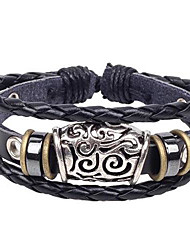 Men's Popular Hollow Feature Leather Braided Bracelets