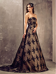 Lan Ting A-line/Princess Plus Sizes Wedding Dress - Champagne Sweep/Brush Train Strapless Satin/Lace