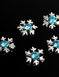 10pcs Giltter Blue Rhinestones Snowflake 3D Alloy Nail Art Decoration
