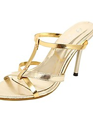 Women's Summer Heels / Slide Patent Leather Dress / Party & Evening Stiletto Heel Sequin / Slip-on Black / Gold
