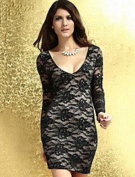 Women's Dress , Lace/Cotton/Polyester/Cotton Blends/Organic Cotton Above Knee Long Sleeve