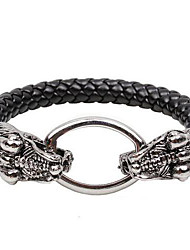 Men's Serpentine Leather Bracelet Oval Double Buckle Python Head Bangle
