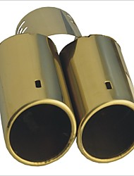 "Carking™ 2.5"" Dia Inlet Automotive Replacements Gold Dual Stainless Exhaust Steel Muffler Tail Pipe"