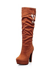 Flocking Women's Chunky Heel Platform Round Toe Knee High Boots (More Colors)
