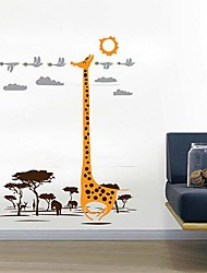 Createforlife ® мультфильм Жираф Счастливая Поездка Дети Детская комната стикер стены искусства стены Наклейки