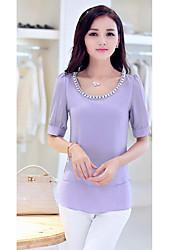 Hanyiou Round Collar Short Sleeve Beads Fashion Shirt