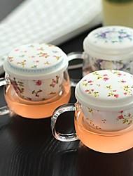 cereja chá copo com tampa cor vitrocerâmica intervalo filtro aleatório (3set), 9.5x7x10cm