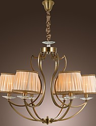 Vintage Chandelier, 6 Light, Classic Fabric Metal Painting