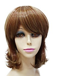 Capless Synthetic Medium Length Brown Curly Synthetic Full  wig