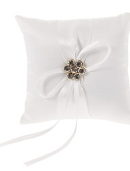 Ivory Ring Pillow In White Satin With Rhinestone