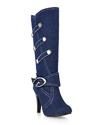 Homme-Habillé-Noir / Bleu-Gros Talon-Bottes à la ModeToile de jean