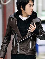 Men's Long Sleeve Casual / Work Jacket,PU Solid Black / Brown