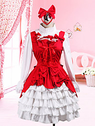 Long Sleeve White Blouse Knee-length Red Cotton Jumper Skirt Classic Lolita Outfit