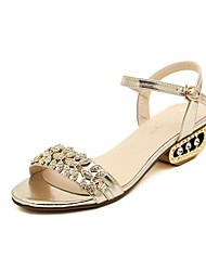 Women's Shoes Sling back Chunky Heel  Sandals  with Buckle and Rhinestone Shoes