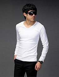 V-Neck Casual Pure Color maniche lunghe in cotone da uomo Tops T-Shirts