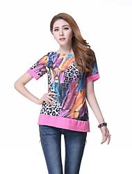 Penas do leopardo das mulheres impressão Chiffon camiseta manga curta