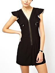 Women's Black Jumpsuits , Sexy/Casual Short Sleeve