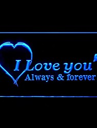Je t'aime toujours coeur pour toujours, Bleu, Vert, Rouge, Blanc, Orange, Violet Jaune Publicité LED Connexion