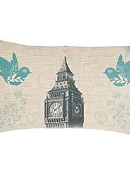 "Createforlife® 12""x 20"" Rectangle Vintage Big Ben Birds Cotton/Linen Decorative Pillow"