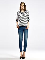 OSA Women's  Long Sleeves Round Collar Thin Horizontal Stripes Splicing  Shirts