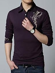 Men's Long Sleeve T-Shirt , Cotton Casual/Work Print