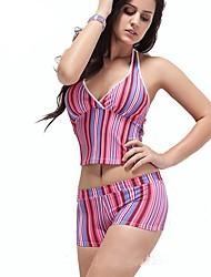 Mulheres Striped Set Swimwear