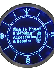 Mobile Phone Unlock Accessories Repairs Neon Sign LED Wall Clock