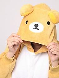 Kigurumi Pajamas Bear Raccoon Leotard/Onesie Slippers Festival/Holiday Animal Sleepwear Halloween Patchwork Coral fleece Kigurumi For