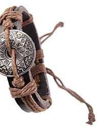 heren vintage patroon lederen armband