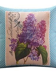 algodón de la flor púrpura / ropa cubierta decorativa almohada