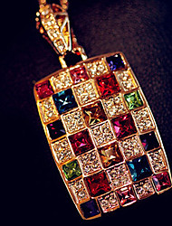 MIKI Colorful Crystal Dangling Sweater Necklace