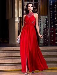 Formal Evening/Prom/Military Ball Dress - Ruby Plus Sizes A-line High Neck Floor-length Cotton