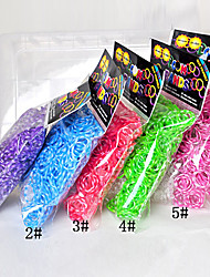 600pcs couleur arc-en-loom 16 Sfashion bande de métier (la pince de 1package, couleurs assorties)