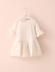 Girl's Jacquard Dress,Lace Summer White