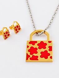 Fashion Flower titanio acciaio placcato oro Collane serrature ed orecchini dei monili Sets
