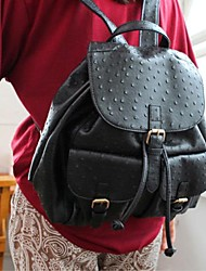 Women's Girls New Vintage Ostrich Leather Book School Bag Travel Camping Backpack Gift Bag