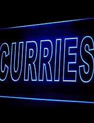 Curries Indian Food Green Blue Red White Orange Purple Yellow Advertising LED Light Sign